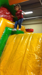 R at a bounce house, September 2015 (WHEEEE!)