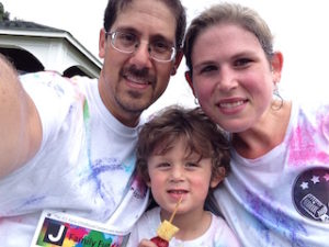 Me, the wife and R, JCC ECE Color Run, September 2016